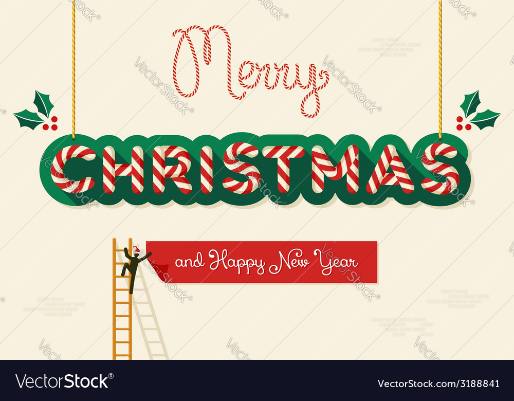 Merry christmas creative greeting card vector | Price: 1 Credit (USD $1)