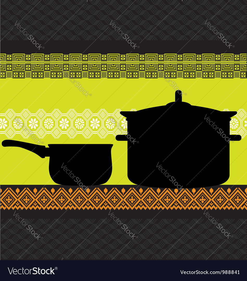 Pan and pot with ancient background vector | Price: 1 Credit (USD $1)