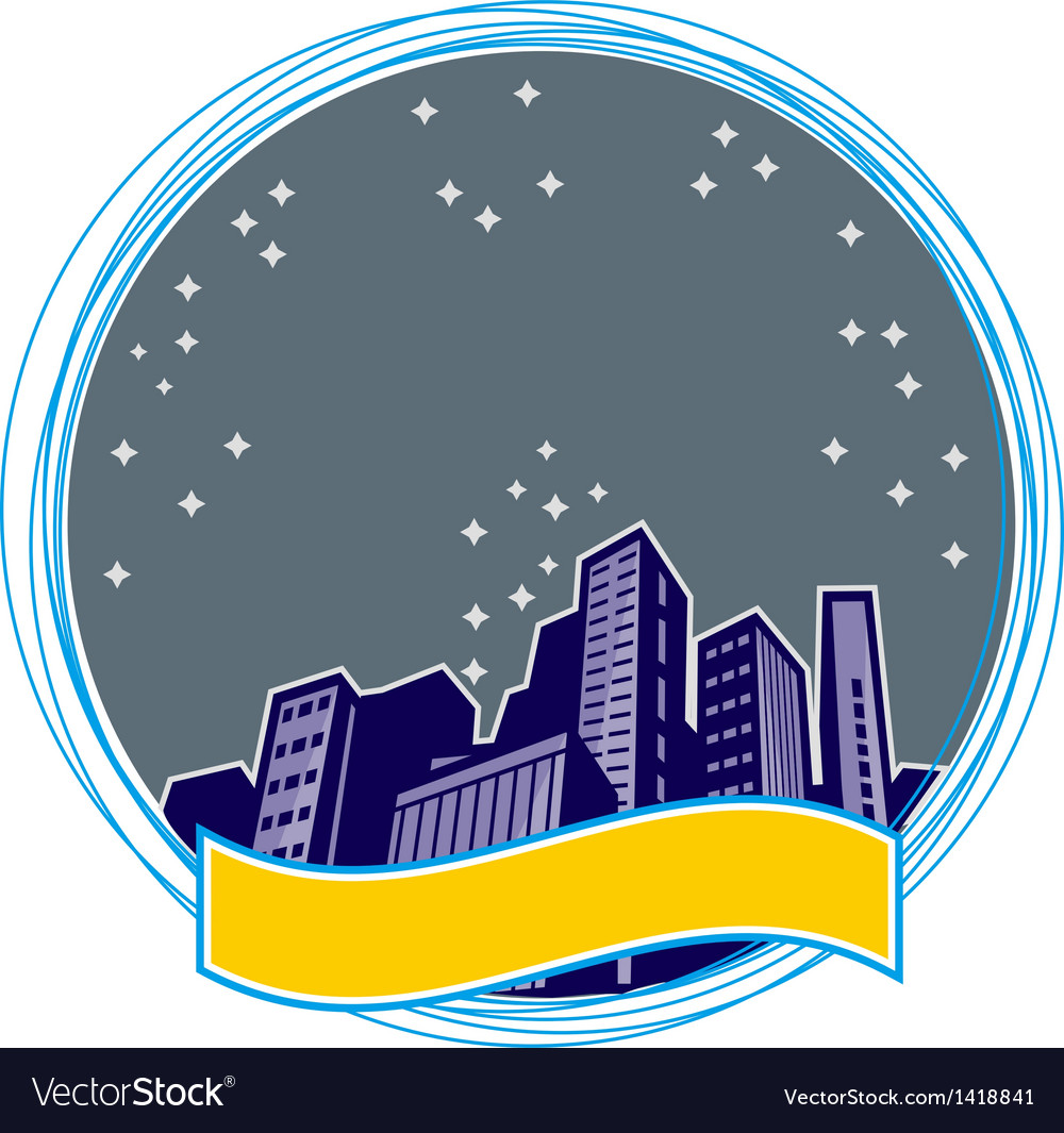 Retro night city icon vector | Price: 1 Credit (USD $1)