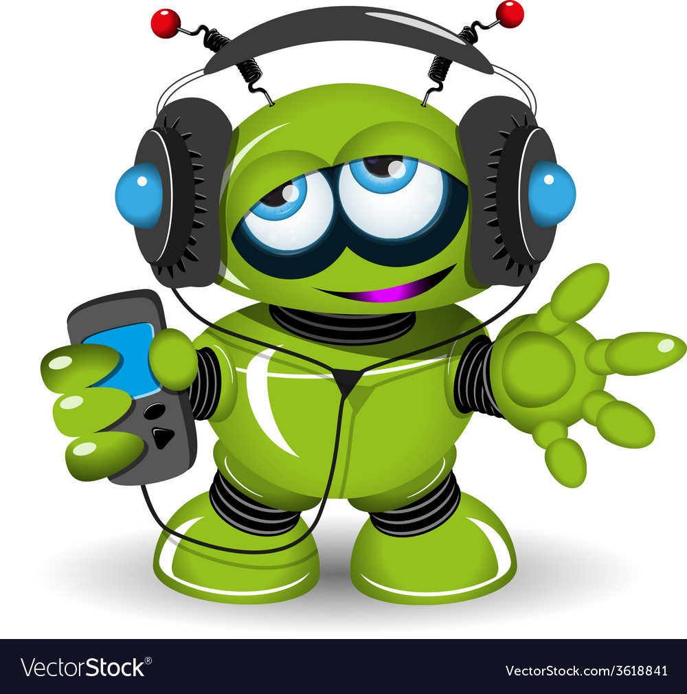 Robot music lover vector | Price: 3 Credit (USD $3)