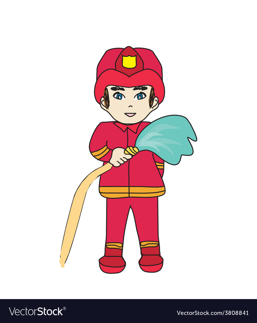 Sketchy of a fireman vector | Price: 1 Credit (USD $1)