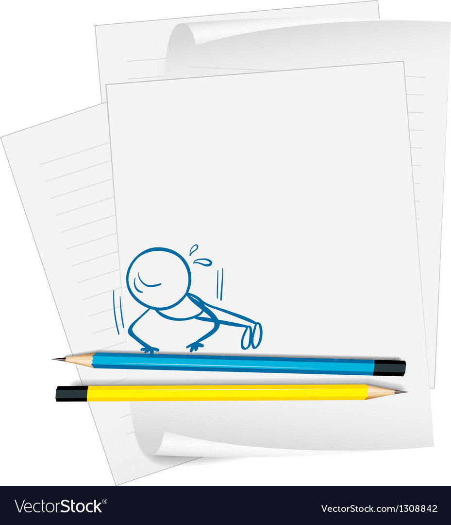 A paper with a drawing of a boy doing push-ups vector | Price: 1 Credit (USD $1)