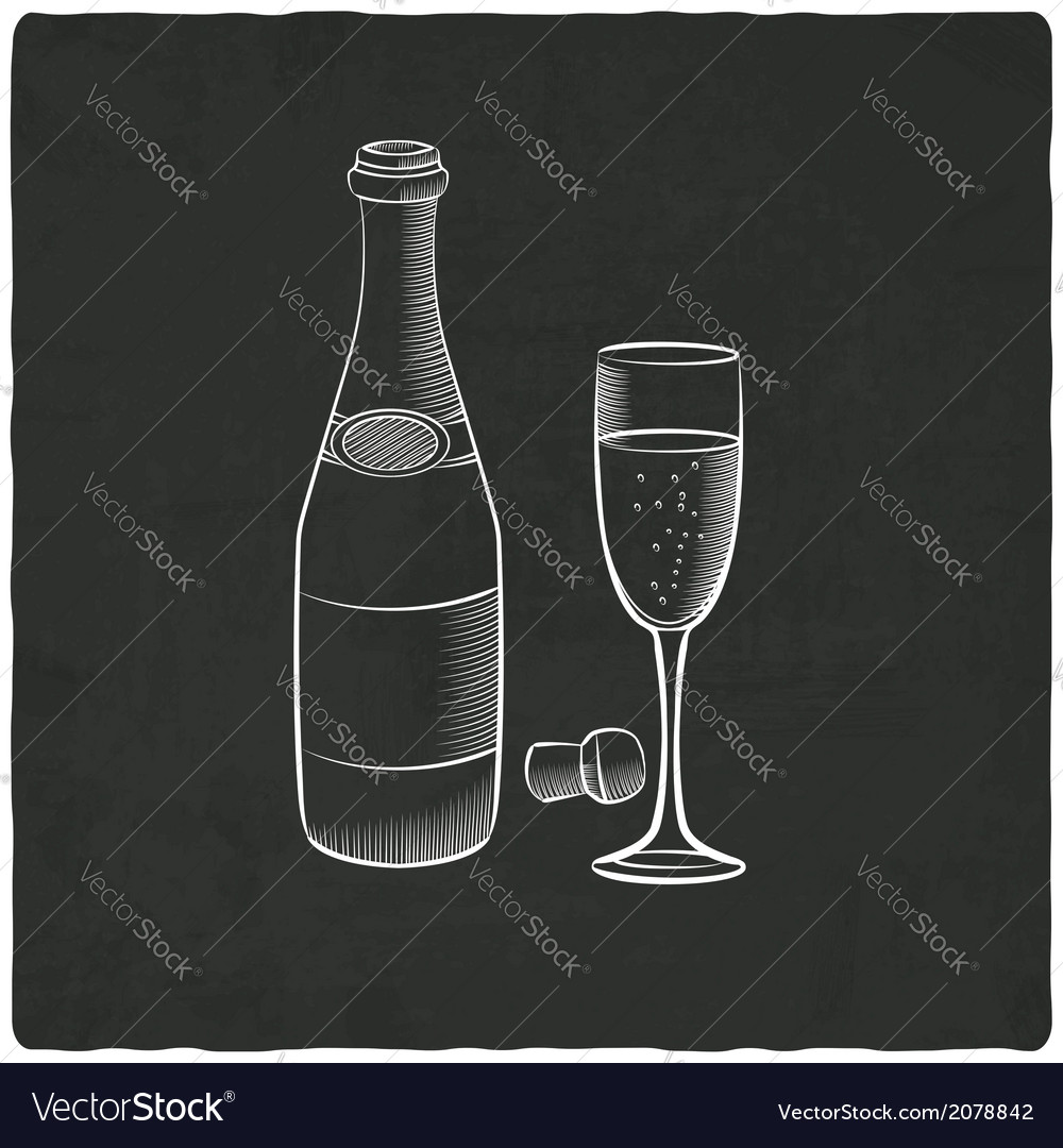 Champagne on black old background vector | Price: 1 Credit (USD $1)