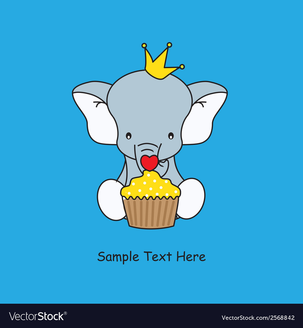 Elephant with a muffin vector | Price: 1 Credit (USD $1)