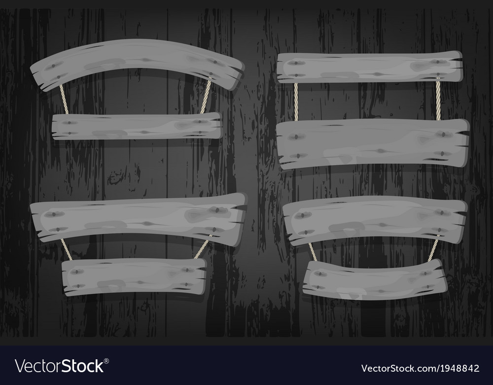 Grey wooden banners and ribbons hanging on ropes vector | Price: 1 Credit (USD $1)
