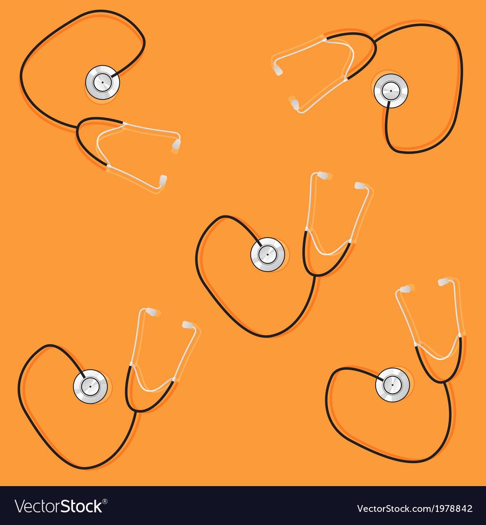 Phonendoscopes on orange background vector | Price: 1 Credit (USD $1)