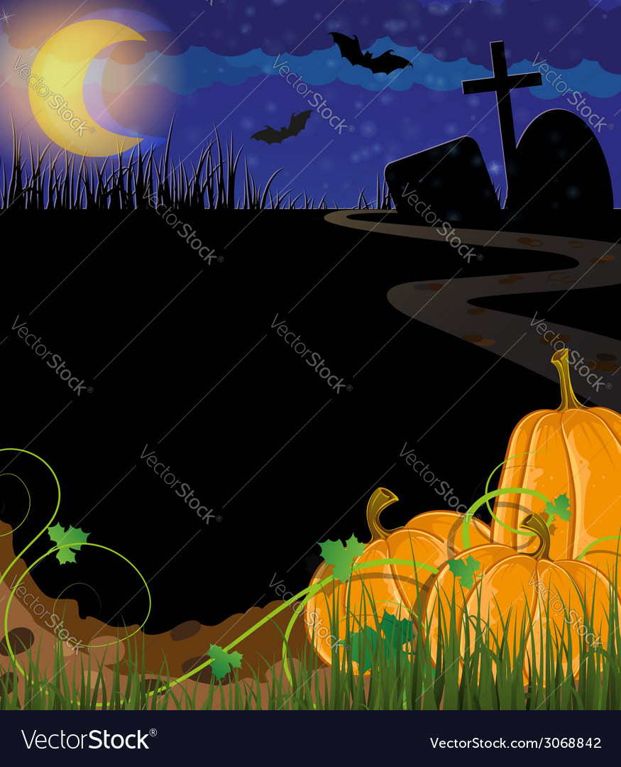 Pumpkins on a cemetery vector | Price: 1 Credit (USD $1)