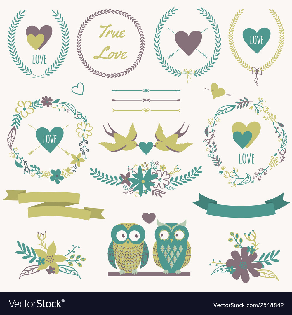 Romantic set with bouquets birds hearts arrows vector | Price: 1 Credit (USD $1)