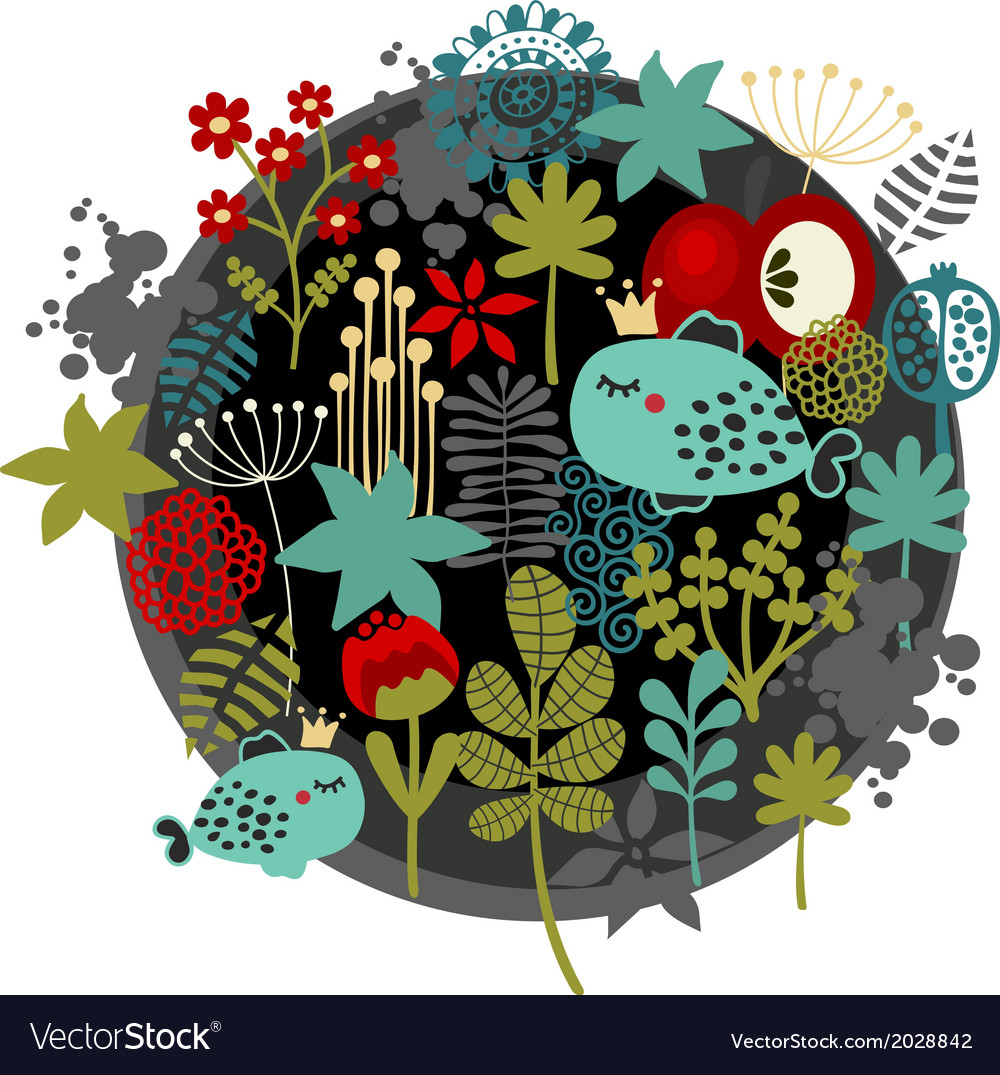 Round label pattern with flora and fish vector | Price: 1 Credit (USD $1)