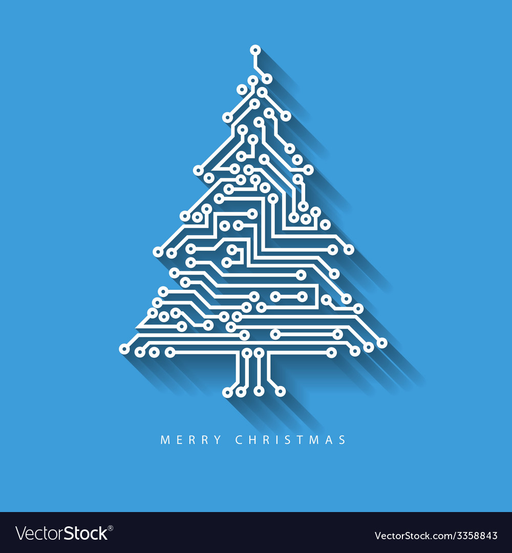 Christmas tree from digital electronic circuit vector | Price: 1 Credit (USD $1)