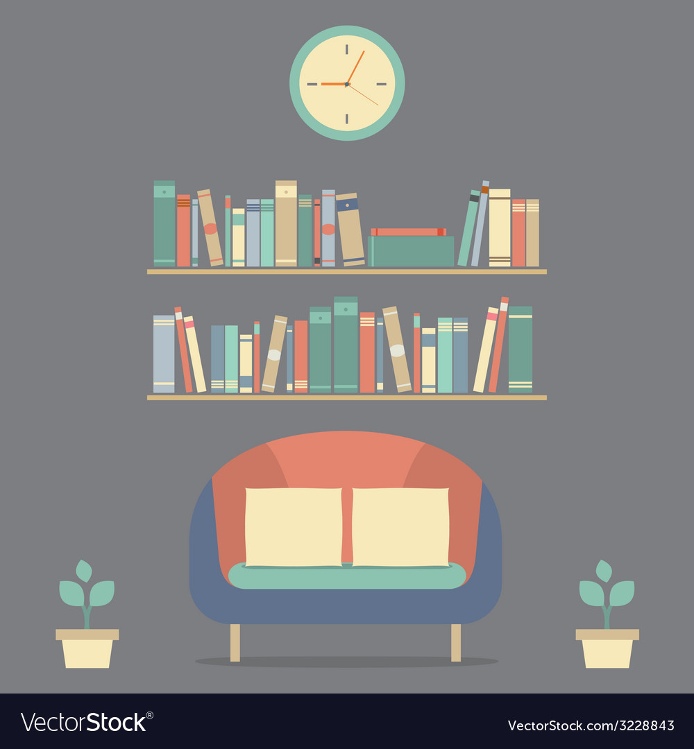 Flat design interior vintage sofa and bookshelf vector | Price: 1 Credit (USD $1)