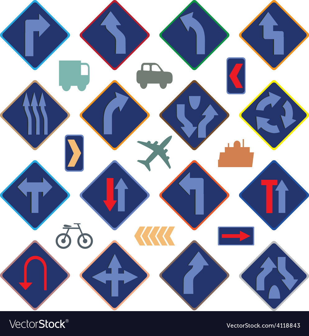 Image of various road signs vector | Price: 1 Credit (USD $1)