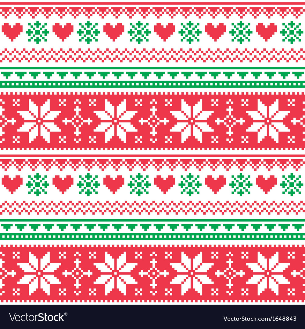 Nordic seamless knitted christmas red and green vector | Price: 1 Credit (USD $1)