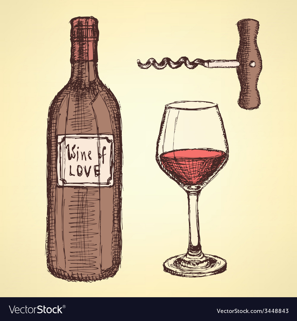 Sketch wine set in vintage style vector | Price: 1 Credit (USD $1)