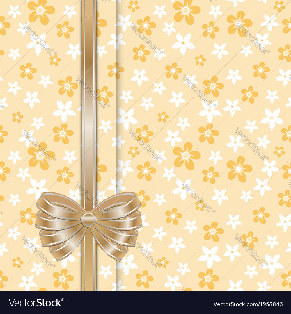 Spring card template with bow gold vector | Price: 1 Credit (USD $1)