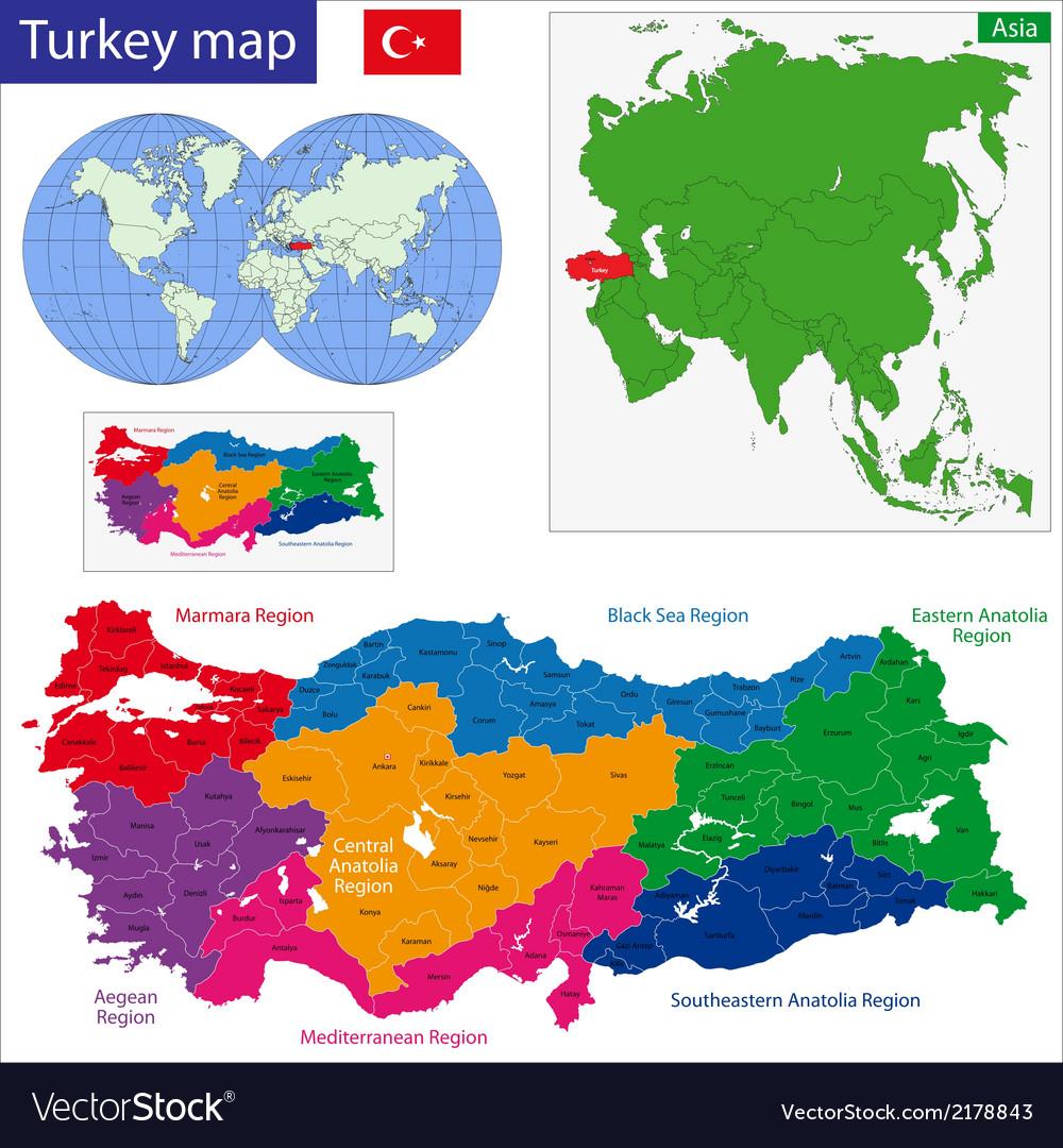 Turkey map vector | Price: 1 Credit (USD $1)