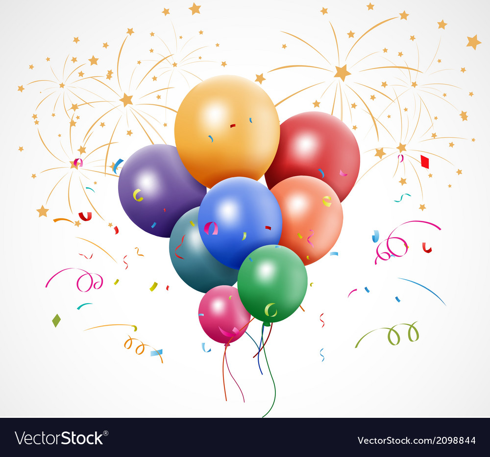 Colorful birthday with balloon and fireworks vector | Price: 1 Credit (USD $1)
