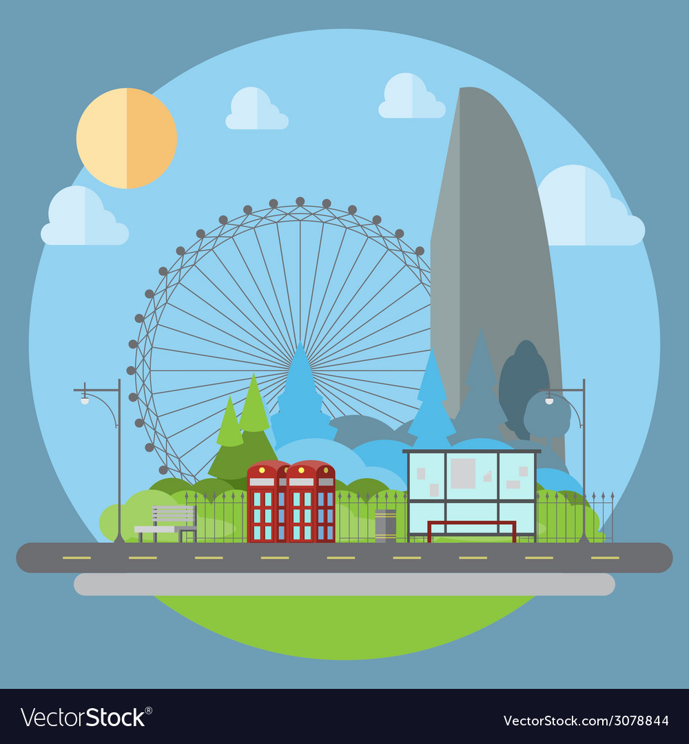 Flat design of cityscape street vector | Price: 1 Credit (USD $1)