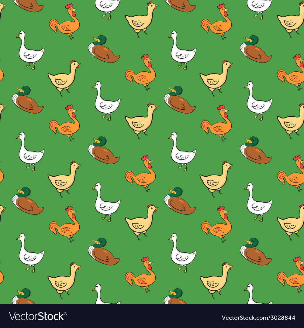 Funny seamless pattern with geese ducks cocks vector | Price: 1 Credit (USD $1)