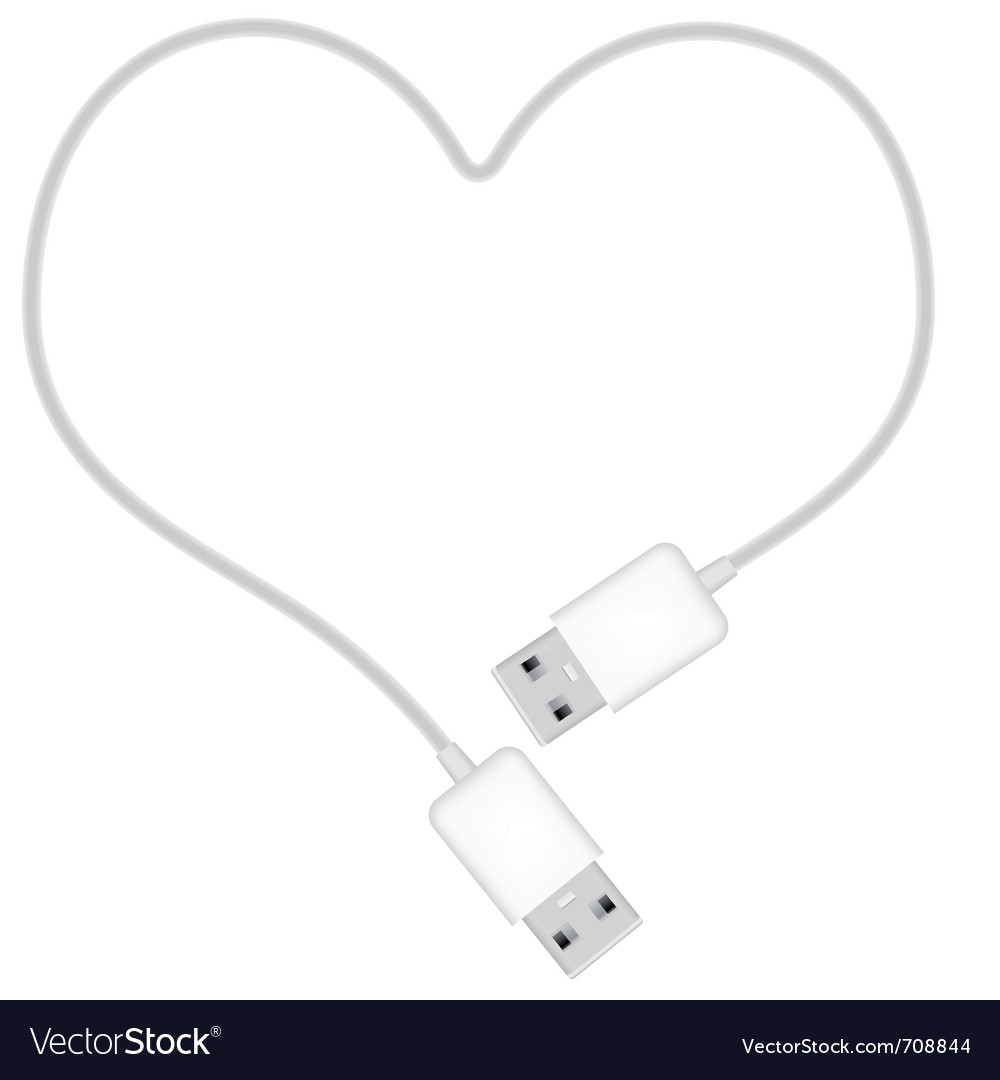 Heart shaped usb cable vector | Price: 1 Credit (USD $1)