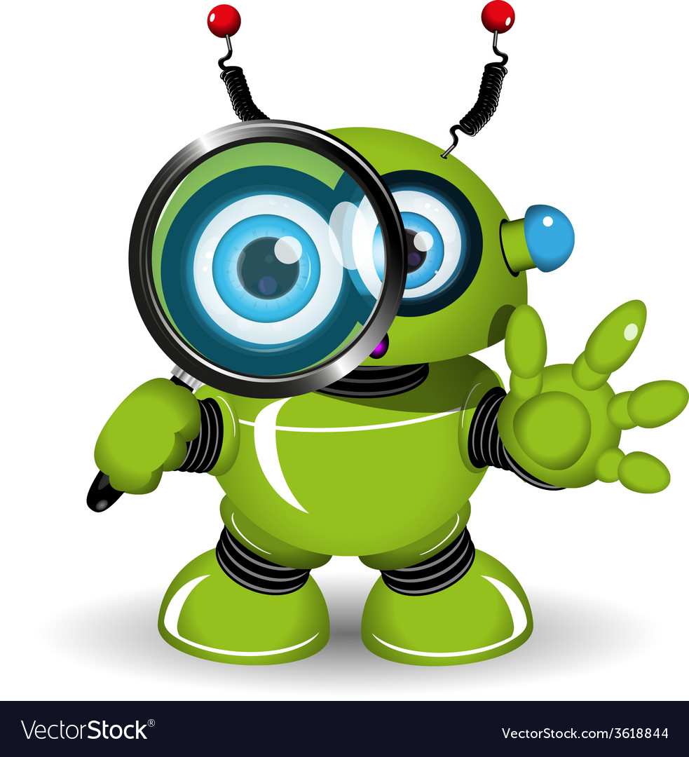 Robot with a magnifying glass vector | Price: 3 Credit (USD $3)