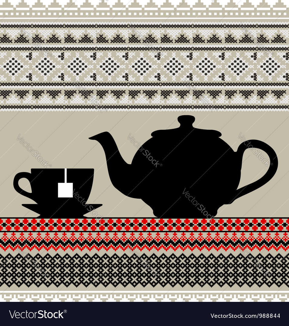 Teapot and cups vector | Price: 1 Credit (USD $1)