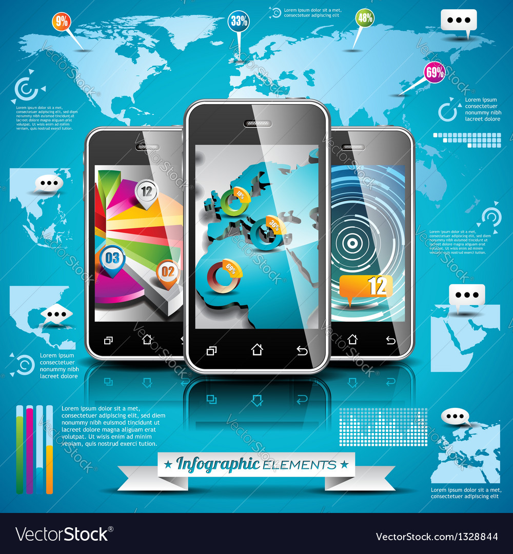 World map and information graphics on mobile phone vector | Price: 3 Credit (USD $3)
