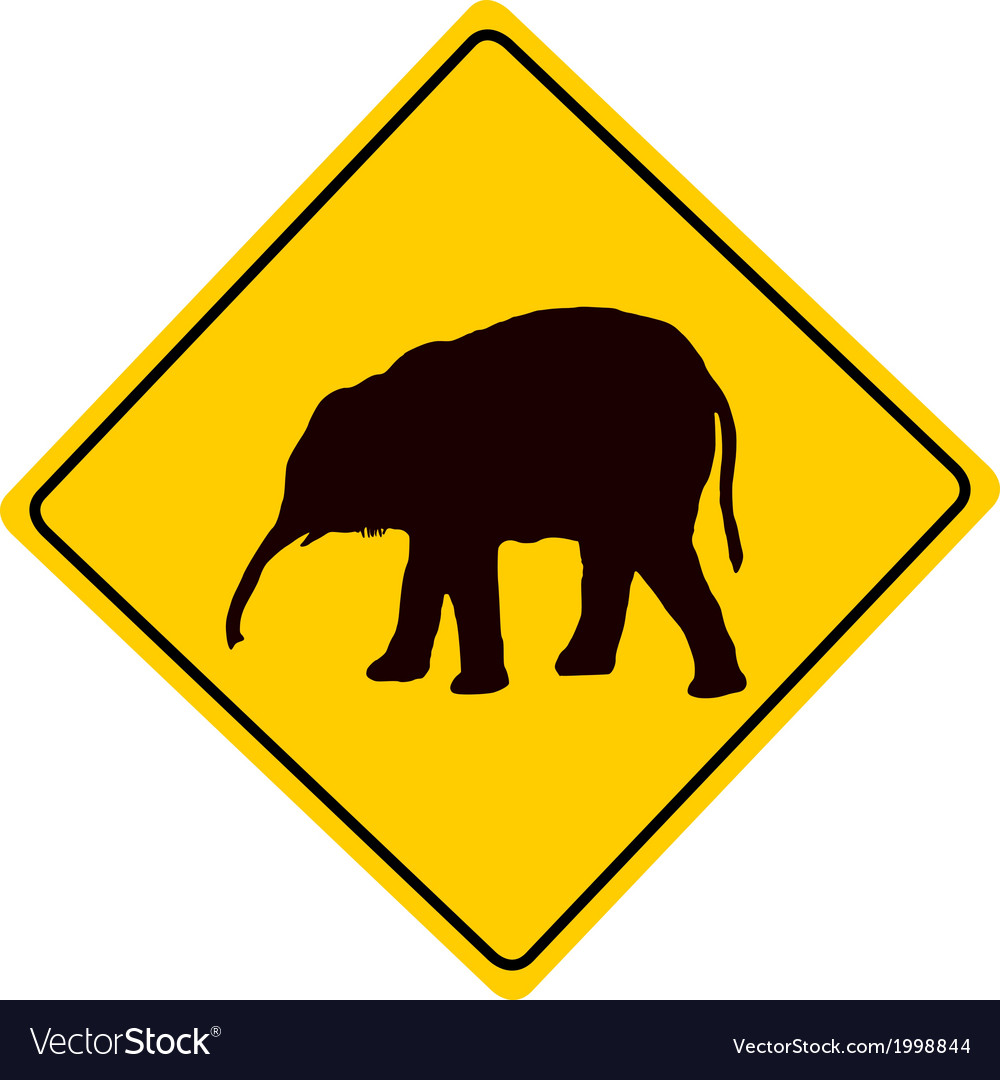Young elephant warning sign vector | Price: 1 Credit (USD $1)