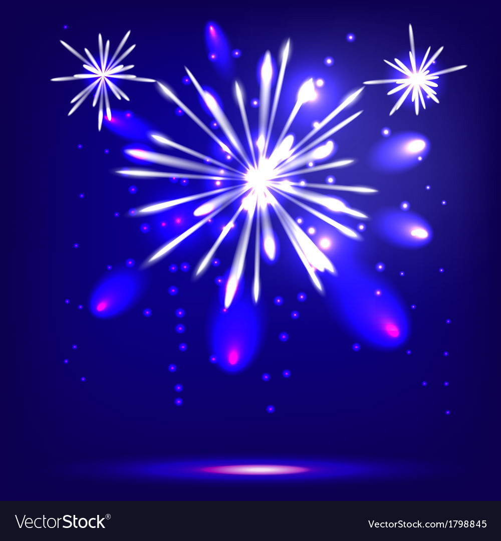 Blue background with fireworks vector | Price: 1 Credit (USD $1)
