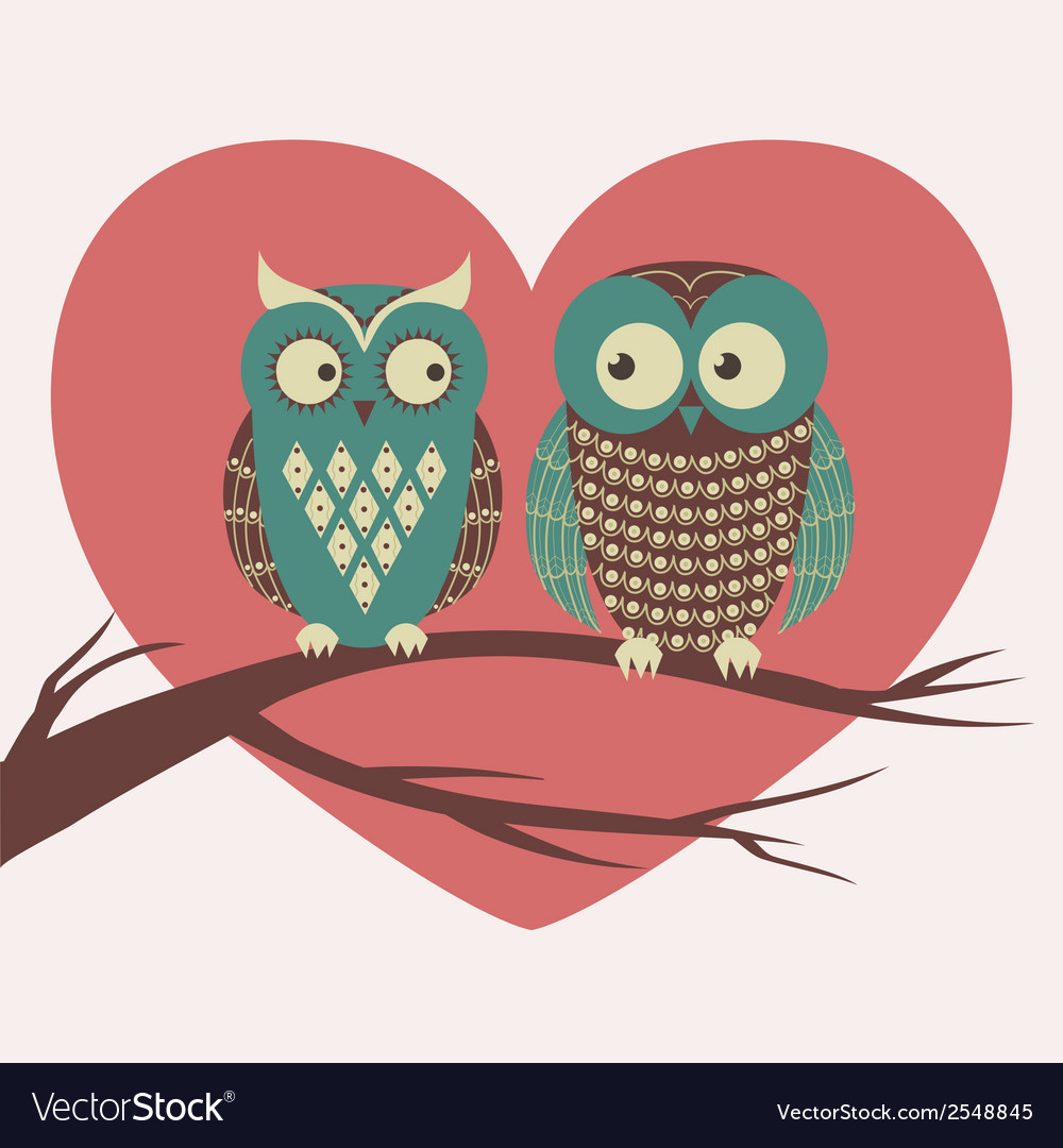 Colorful with two owls in love sitting on a vector | Price: 1 Credit (USD $1)