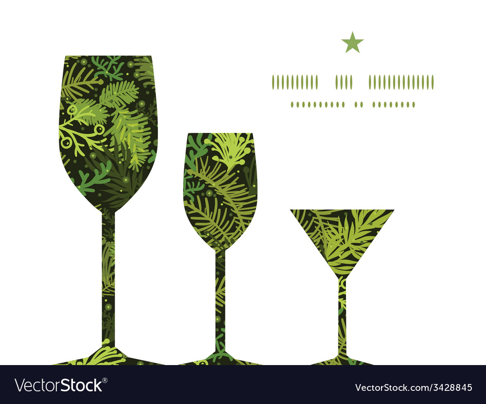 Evergreen christmas tree three wine glasses vector | Price: 1 Credit (USD $1)