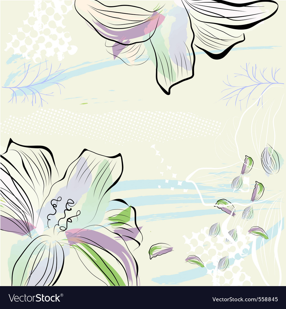 Grunge background with flowers vector | Price: 1 Credit (USD $1)
