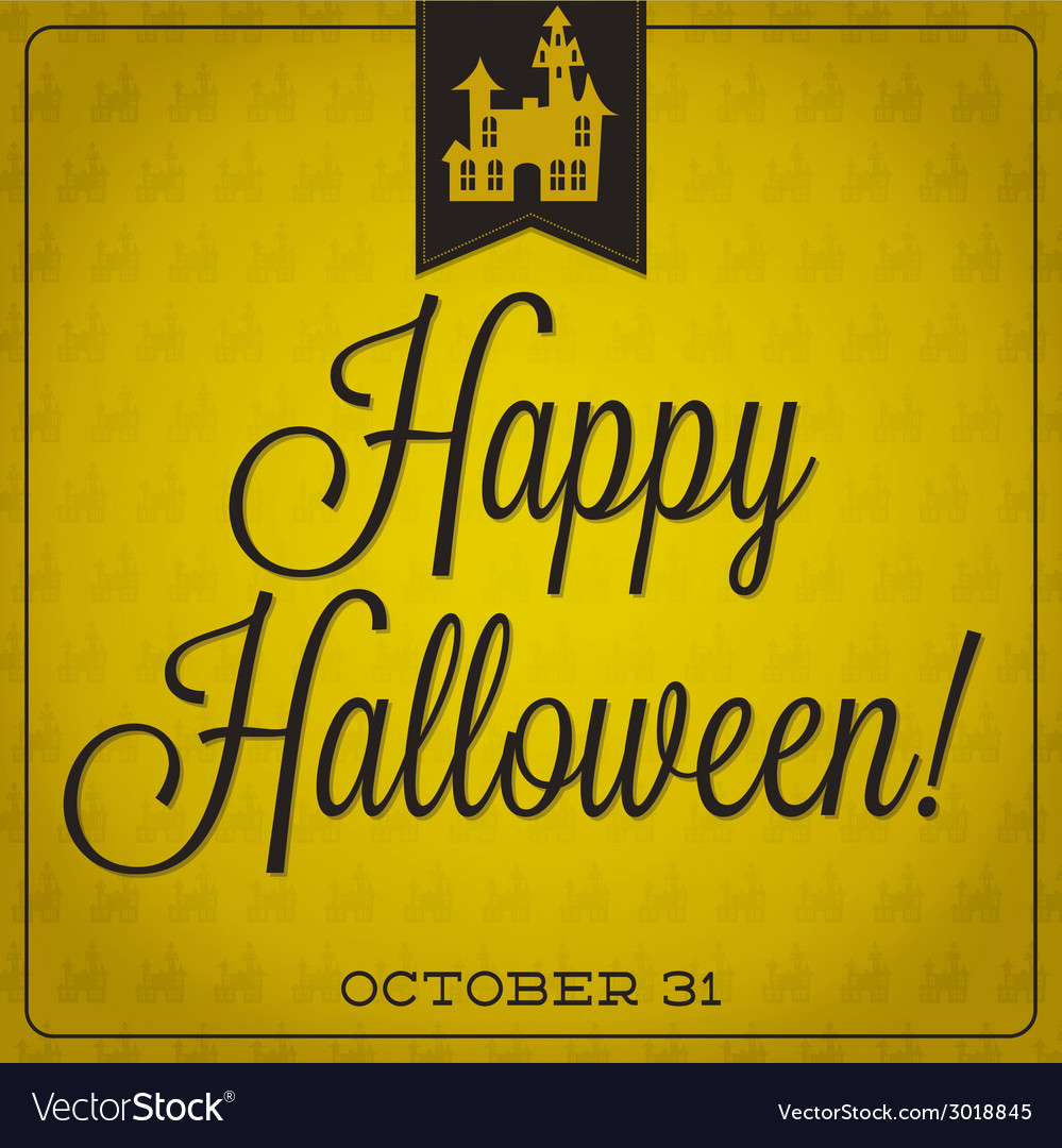 Haunted house retro typographic halloween card vector | Price: 1 Credit (USD $1)