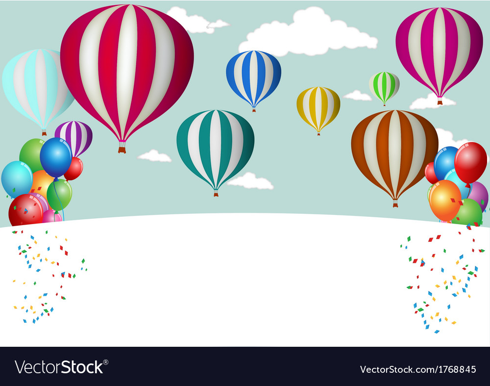 Hot air balloon celebration vector | Price: 1 Credit (USD $1)