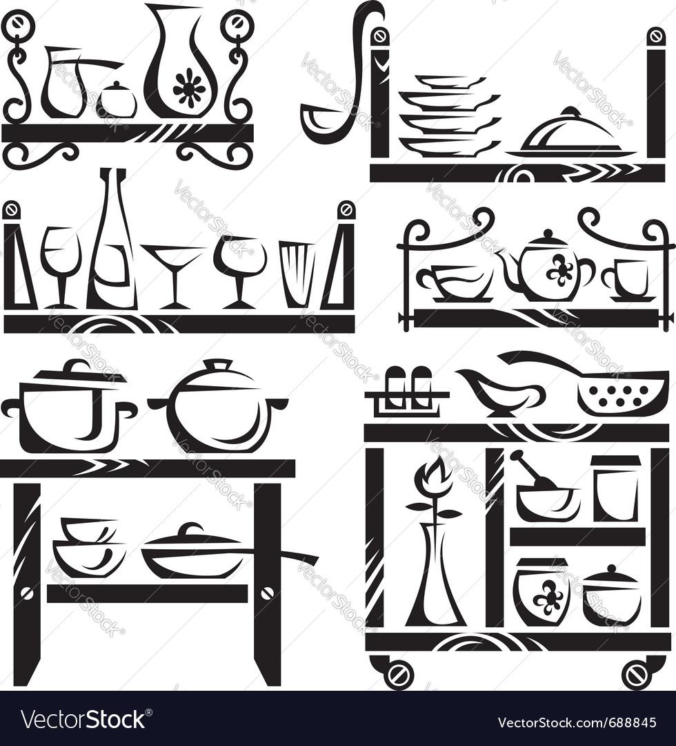 Kitchen utensils on shelves vector