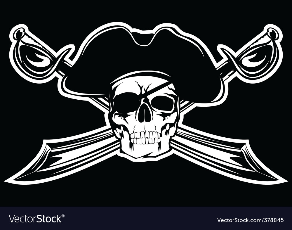 Piracy skull vector | Price:  Credit (USD $)