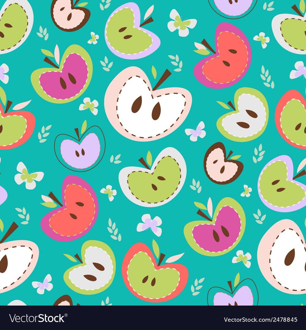 Retro apples seamless background vector | Price: 1 Credit (USD $1)
