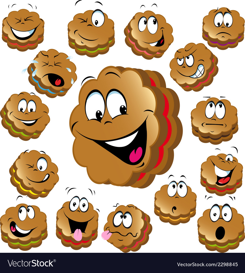 Sweet christmas cookies with funny faces vector | Price: 1 Credit (USD $1)