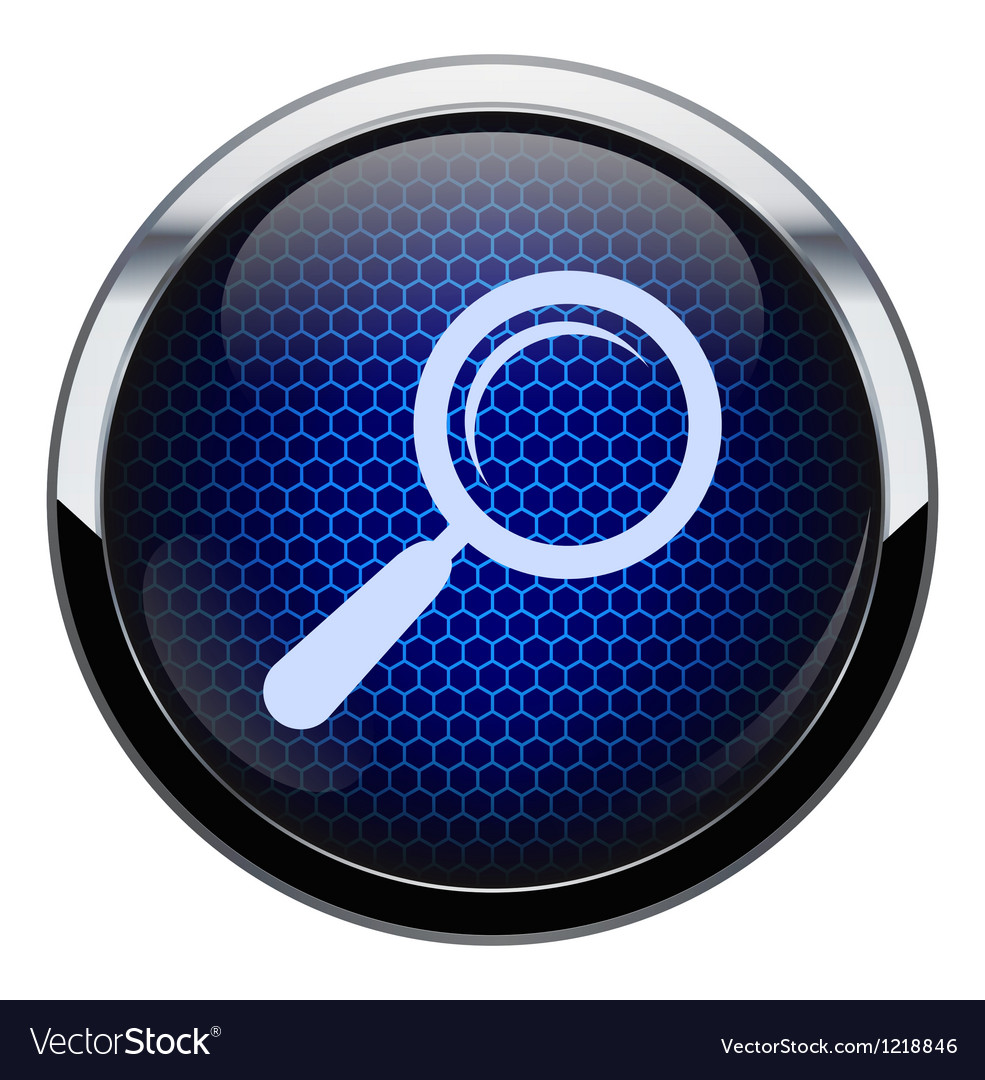Blue honeycomb magnifying glass icon vector | Price: 1 Credit (USD $1)