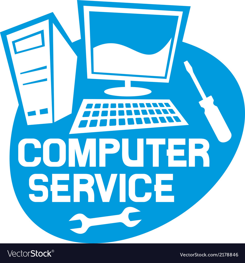 Computer service label vector | Price: 1 Credit (USD $1)