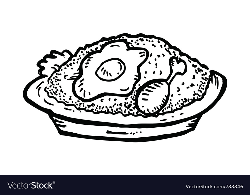 Fried rice with chicken meat and egg vector