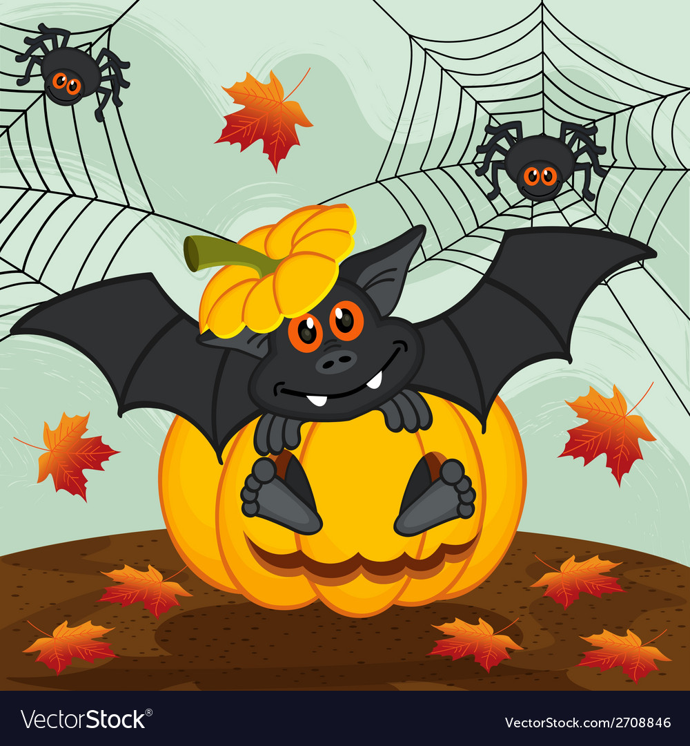 Halloween pumpkin bat vector | Price: 1 Credit (USD $1)