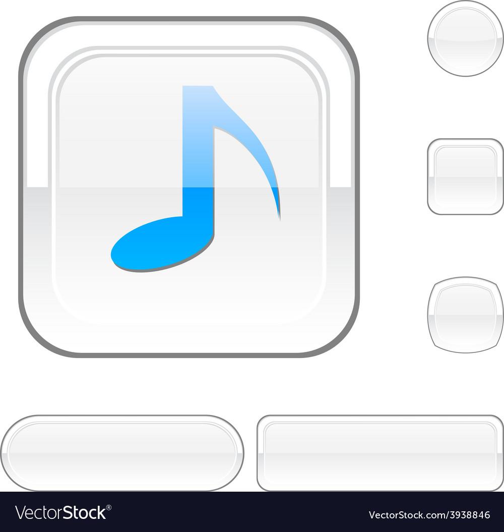 Music white button vector | Price: 1 Credit (USD $1)