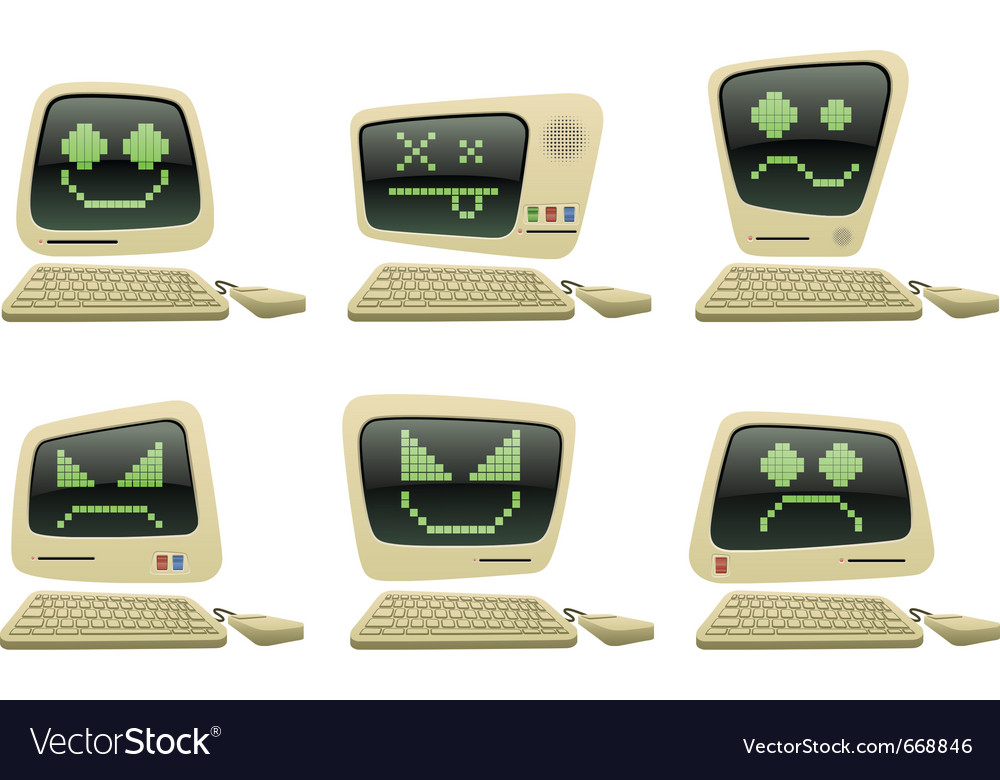 Retro computer icon set with faces vector | Price: 3 Credit (USD $3)