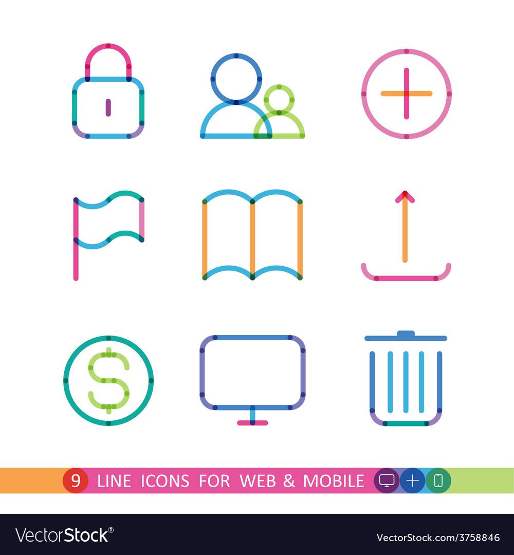 Set from 9 universal icons for web and mobile vector | Price: 1 Credit (USD $1)