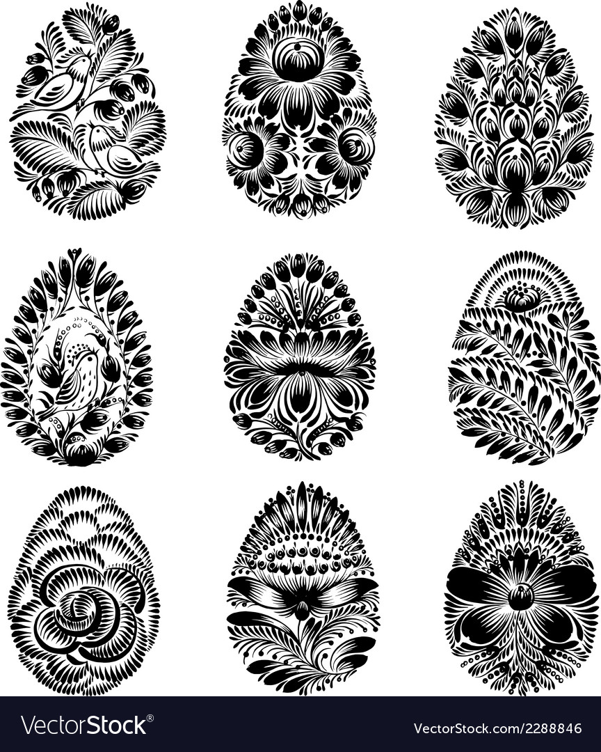Set of black silhouette easter egg vector | Price: 1 Credit (USD $1)