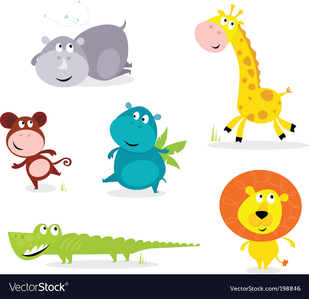 Six cute safari animals vector | Price: 1 Credit (USD $1)