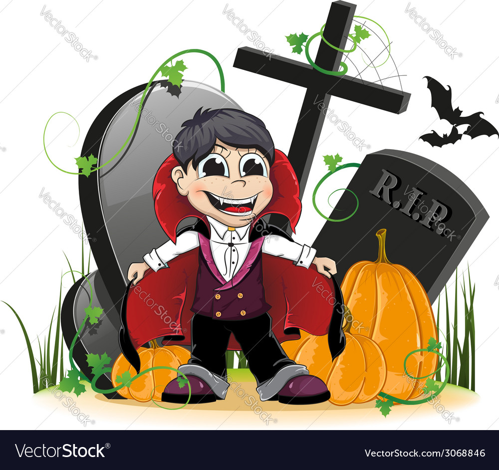 Vampire and pumpkins on the cemetery vector | Price: 1 Credit (USD $1)