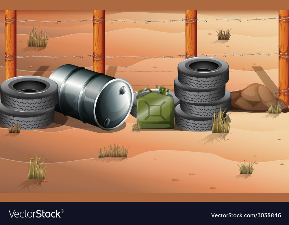 Wheels and fuel containers near the barbwire fence vector | Price: 3 Credit (USD $3)