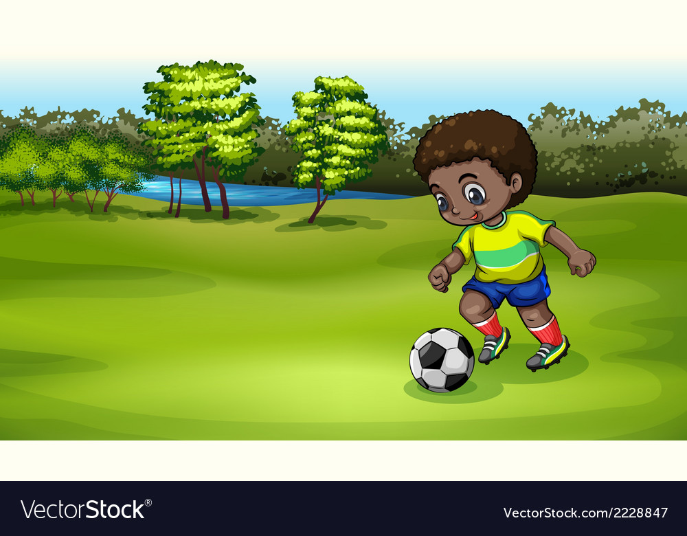 A young boy playing soccer near the river vector | Price: 1 Credit (USD $1)